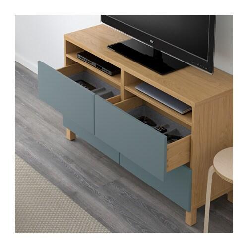 BESTÅ TV bench with drawers Oak effect valviken grey