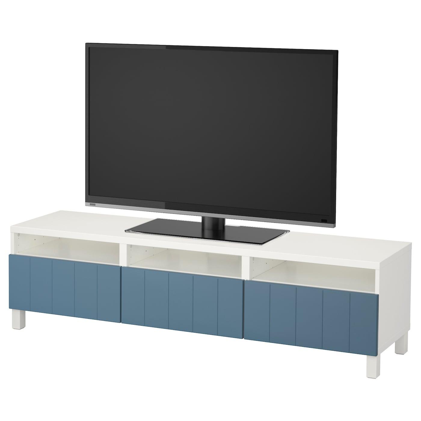 Best Tv Bench With Drawers White Hallstavik Dark Blue