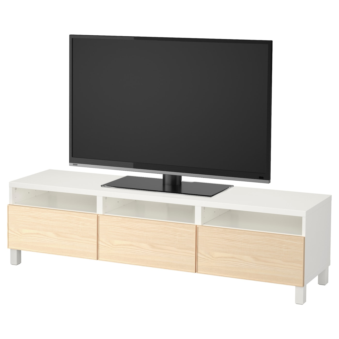 best tv bench with drawers white inviken ash veneer 180 x 40 x 48 cm ikea. Black Bedroom Furniture Sets. Home Design Ideas