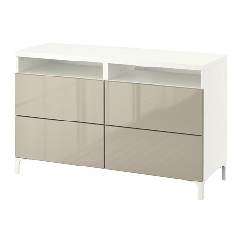 Best tv bench with drawers white selsviken high gloss beige 120x40x74 cm ikea for Ikea high gloss bedroom furniture