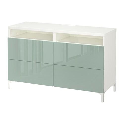 BESTÅ TV Bench With Drawers White/selsviken High-gloss