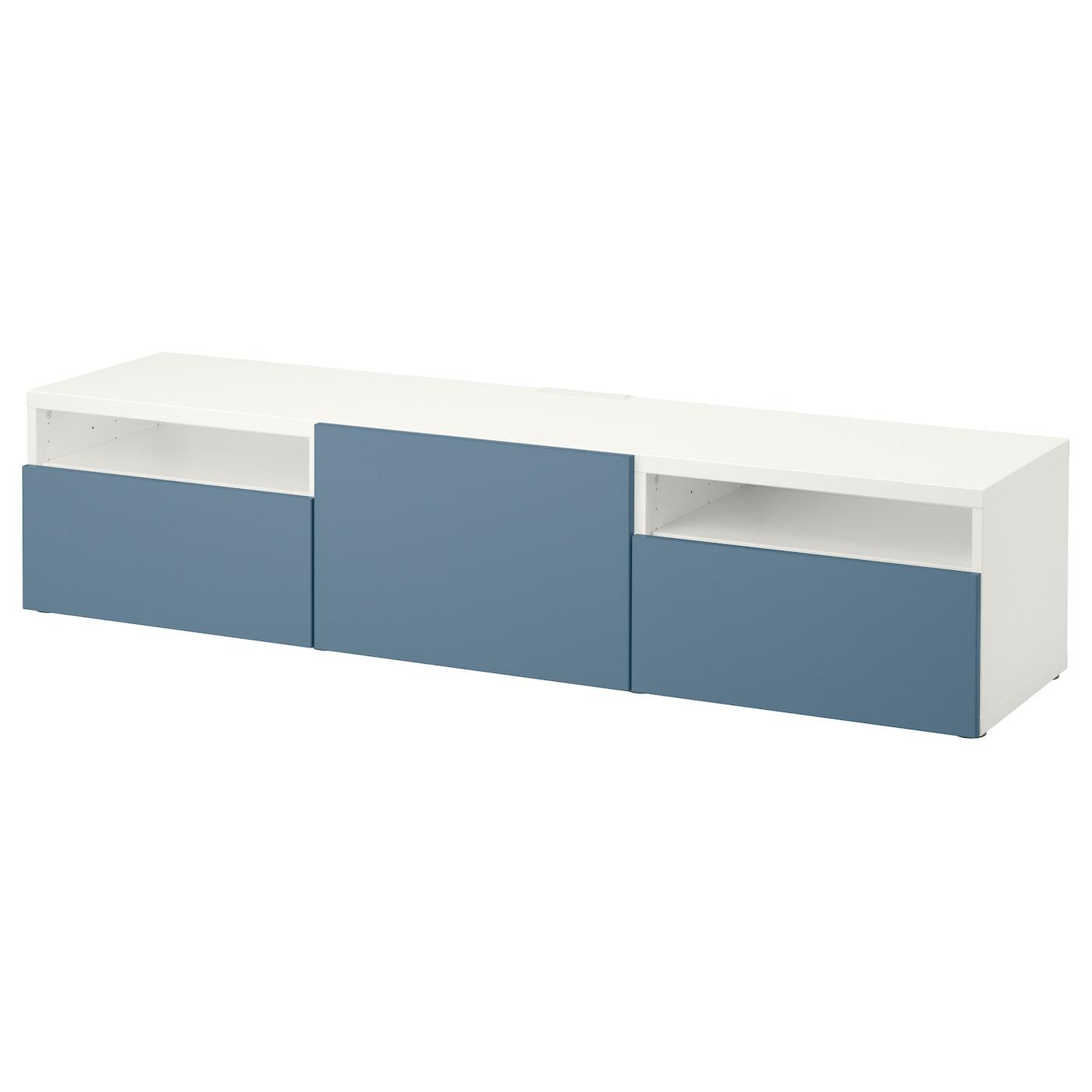 best tv bench with drawers white valviken dark blue 180x40x38 cm ikea. Black Bedroom Furniture Sets. Home Design Ideas