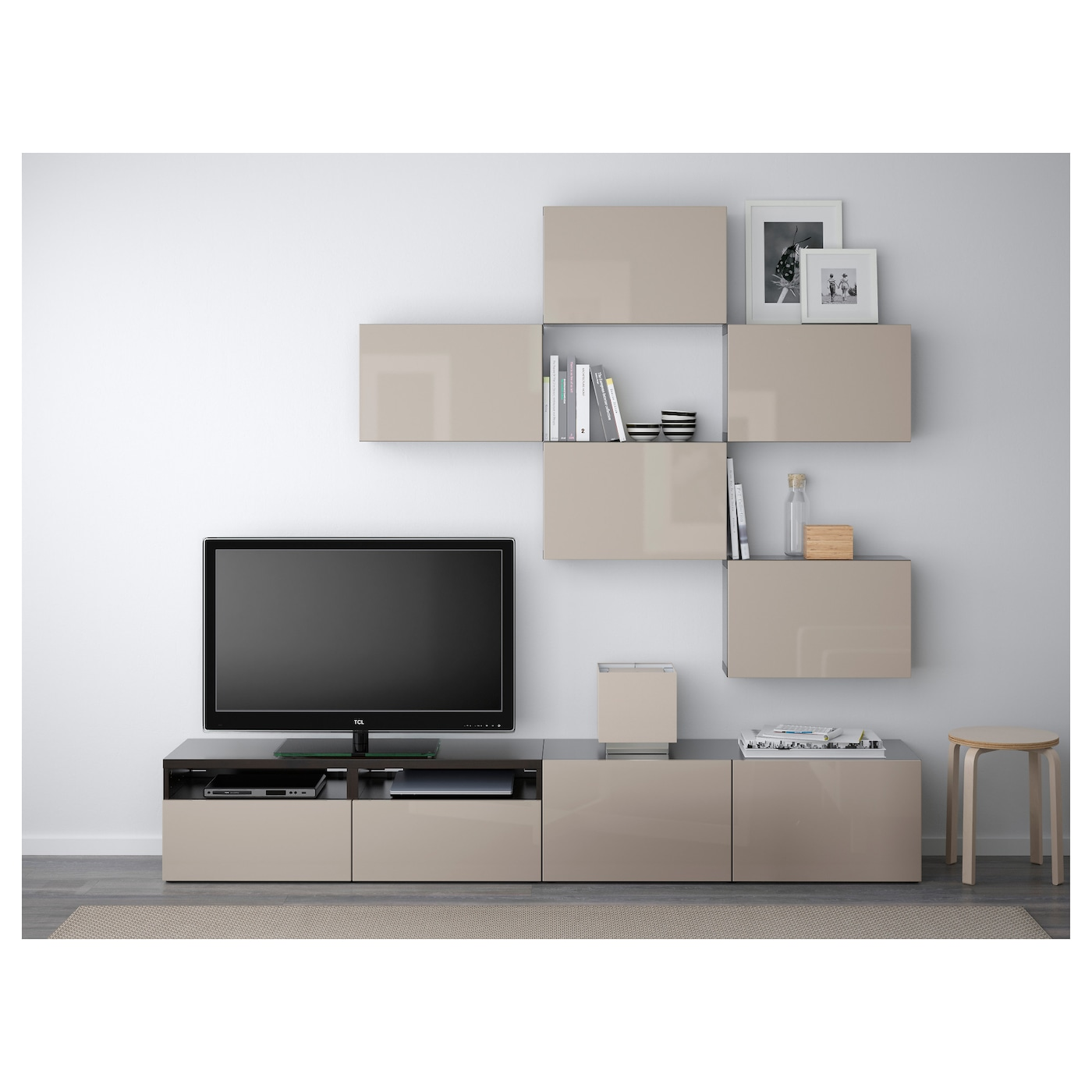 best tv storage combination black brown selsviken high gloss beige 240 x 20 40 x 204 cm ikea. Black Bedroom Furniture Sets. Home Design Ideas