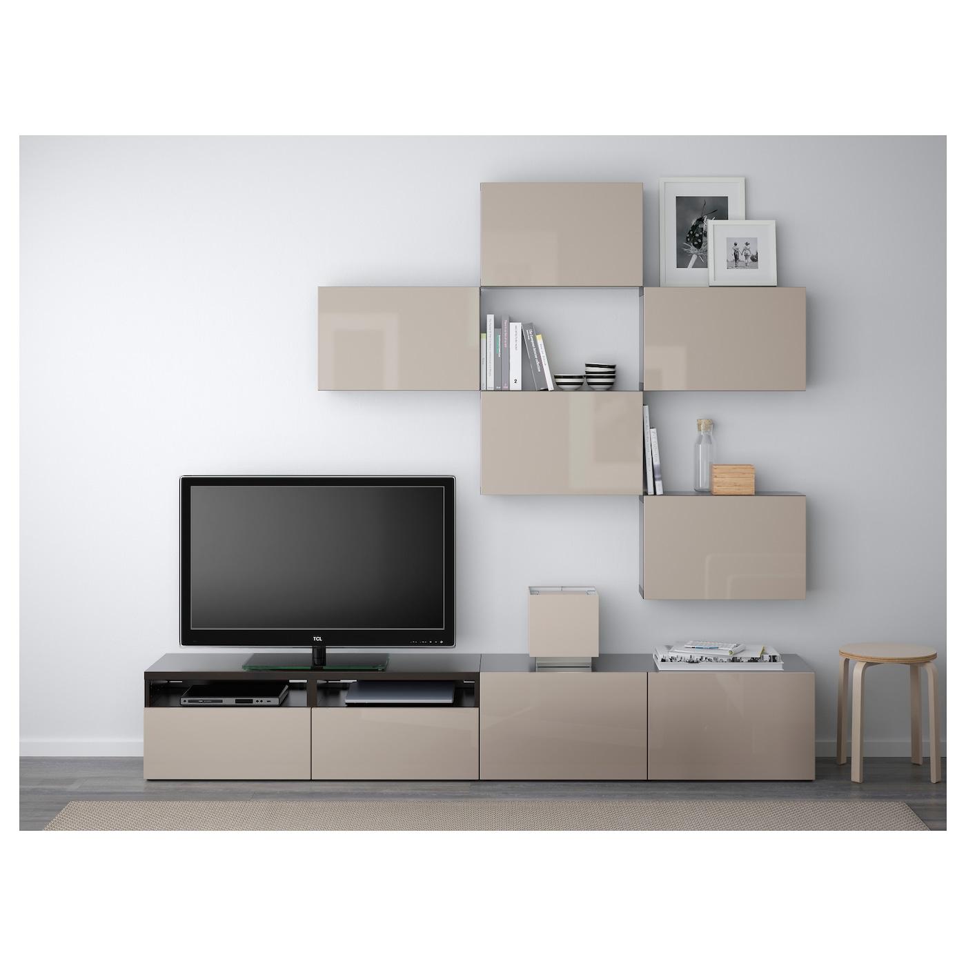 best tv storage combination black brown selsviken high gloss beige 240x20 40x204 cm ikea. Black Bedroom Furniture Sets. Home Design Ideas