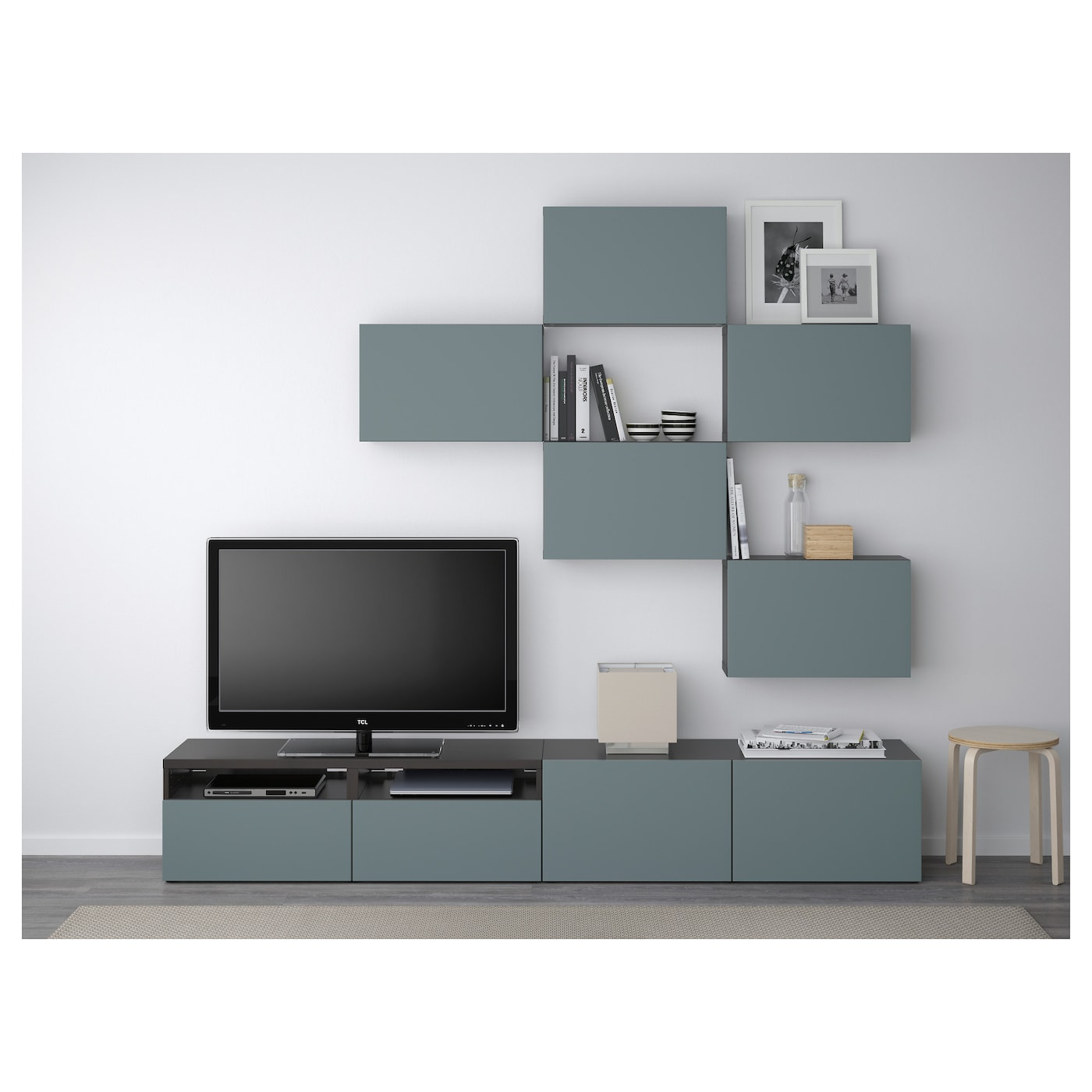 best tv storage combination black brown valviken grey turquoise 240x20 40x204 cm ikea. Black Bedroom Furniture Sets. Home Design Ideas