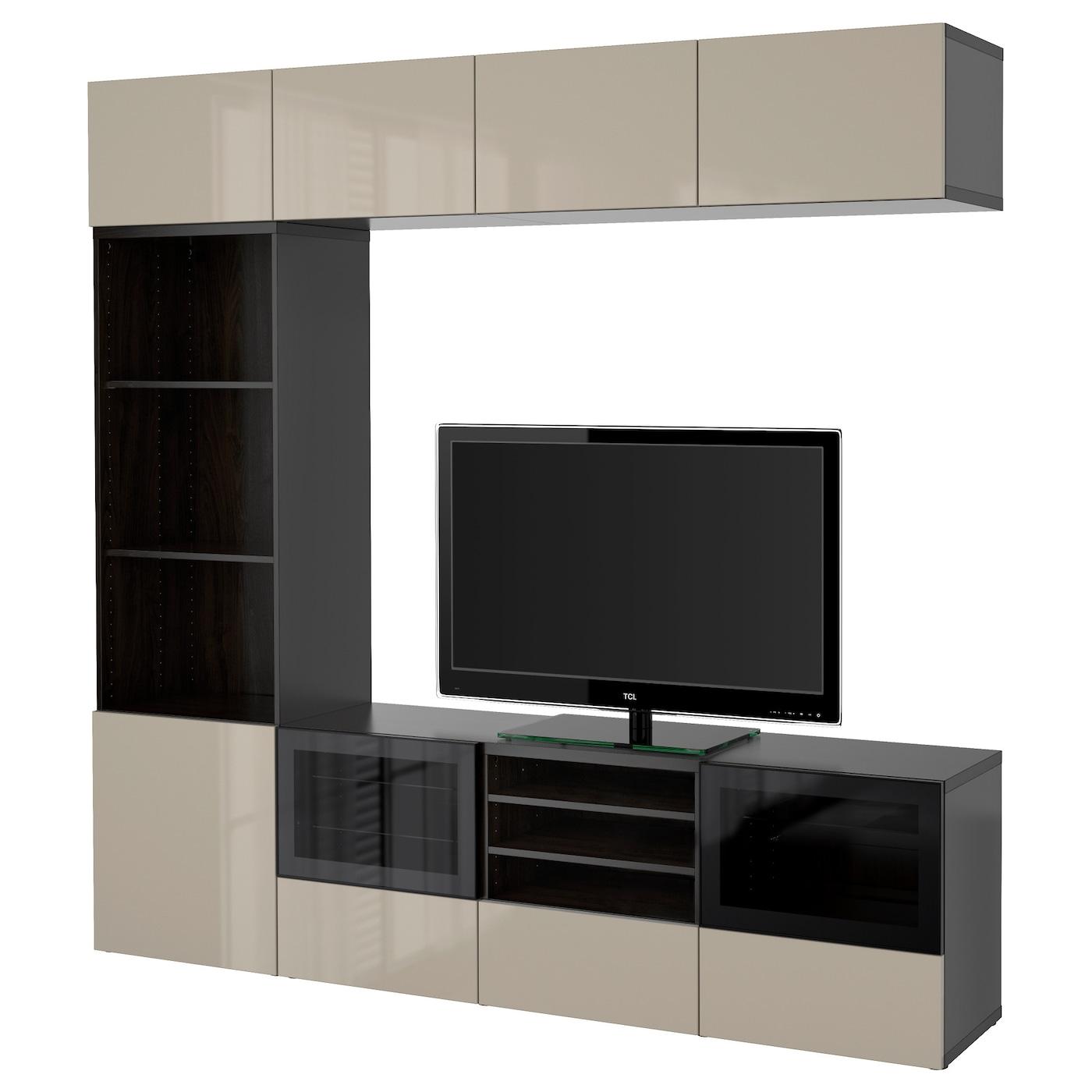 Best tv storage combination glass doors black brown for Meuble cd dvd ikea