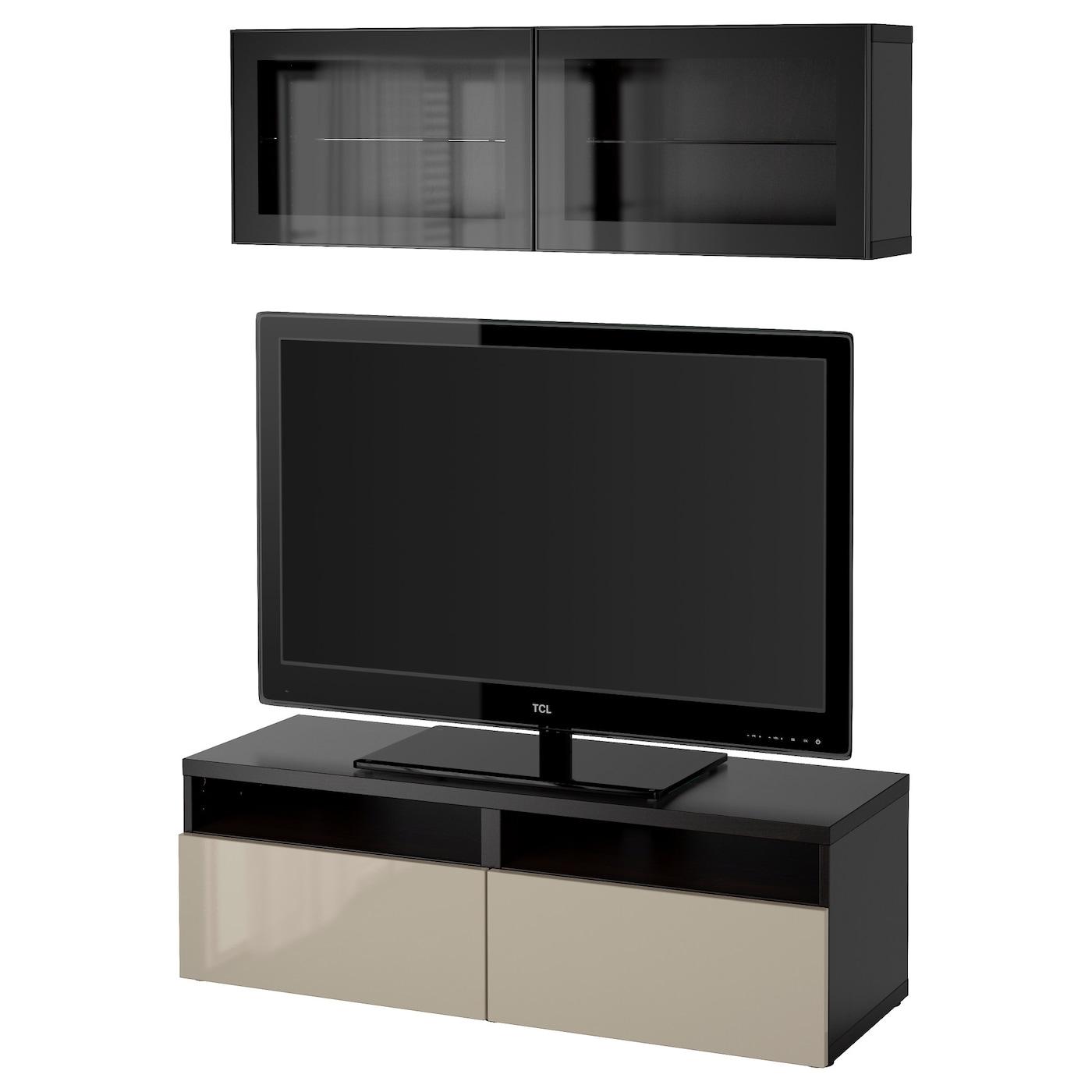 Best Tv Storage Combination Glass Doors Black Brown Selsviken  # Ikea Besta Meuble Tv