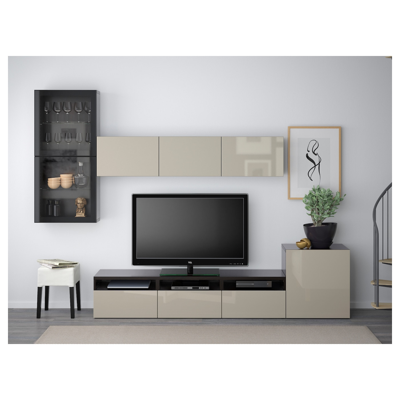 best tv storage combination glass doors black brown selsviken high gloss beige clear glass 300. Black Bedroom Furniture Sets. Home Design Ideas