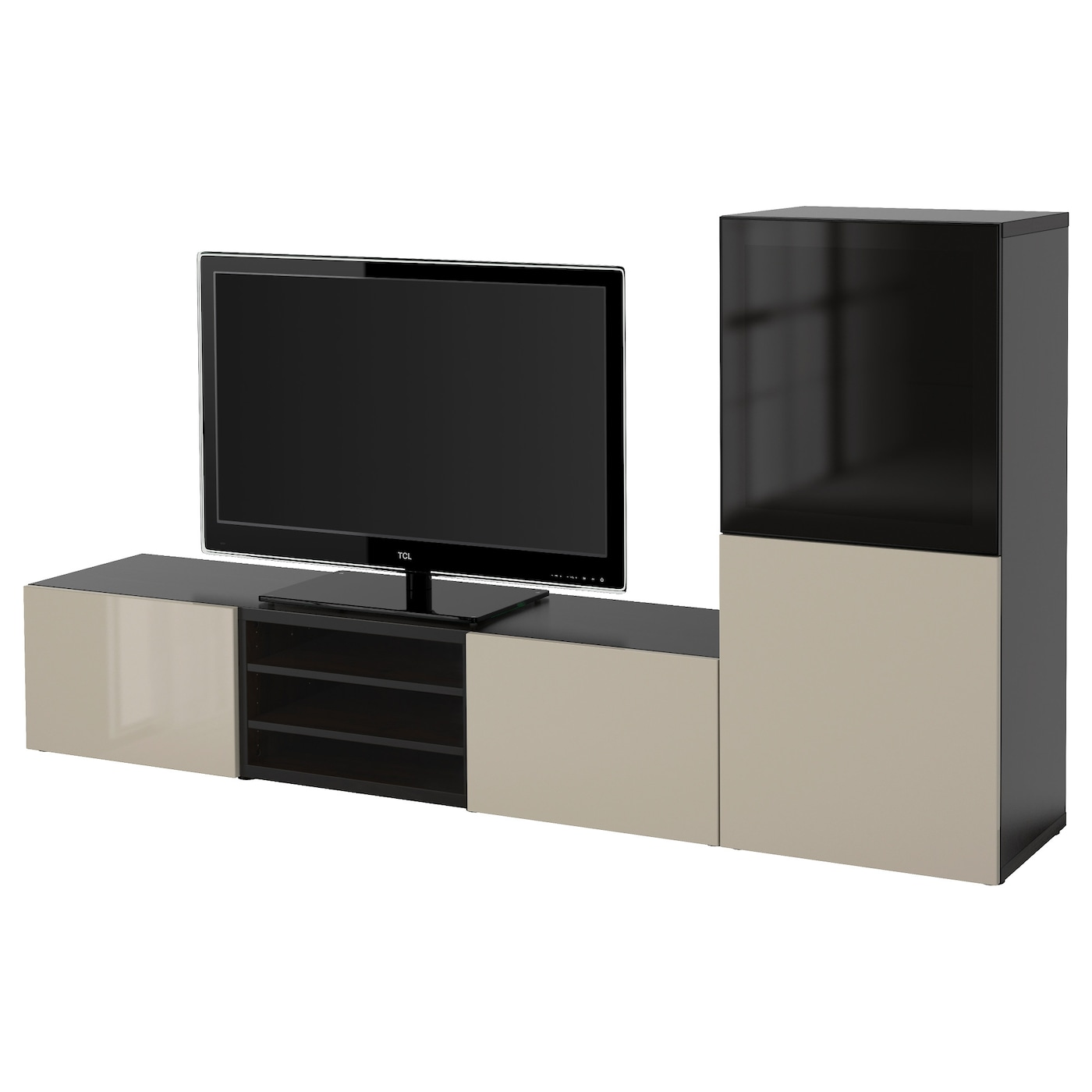 Best tv storage combination glass doors black brown - Support tv mural ikea ...