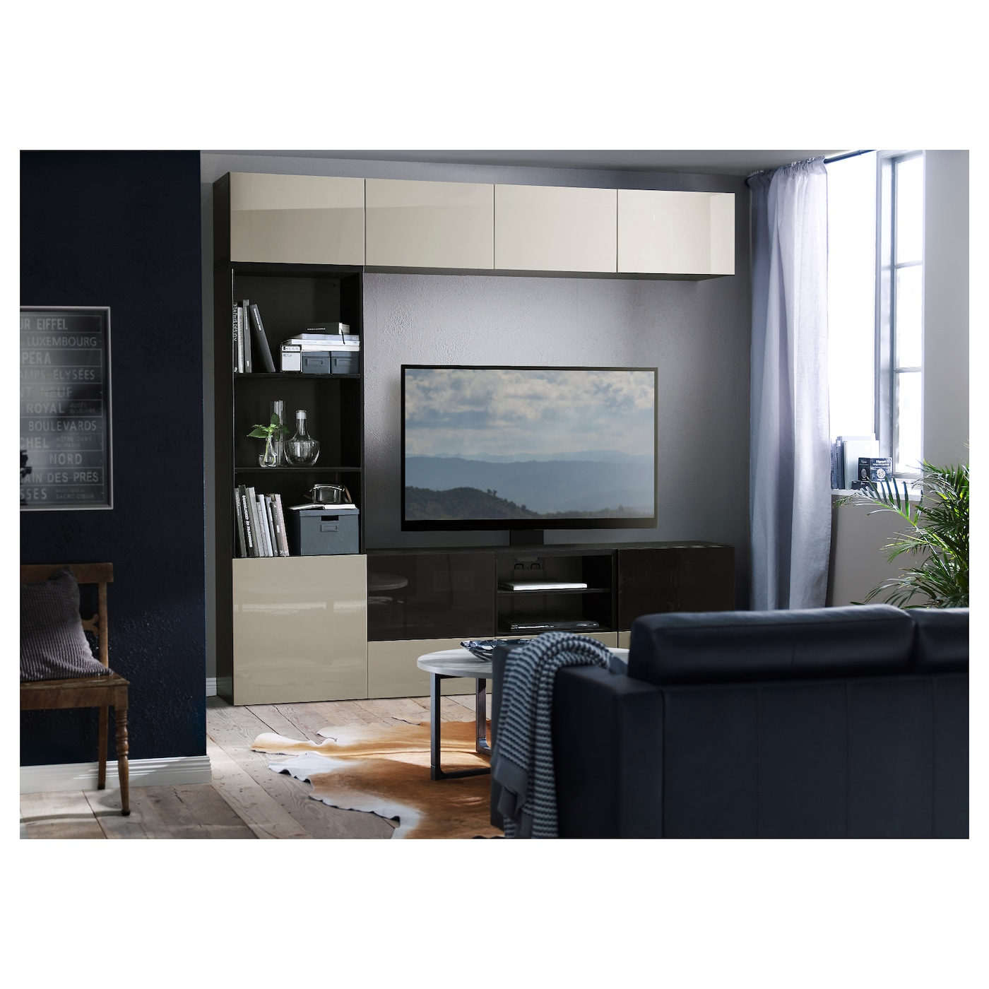 best tv storage combination glass doors black brown selsviken high gloss beige smoked glass 240. Black Bedroom Furniture Sets. Home Design Ideas
