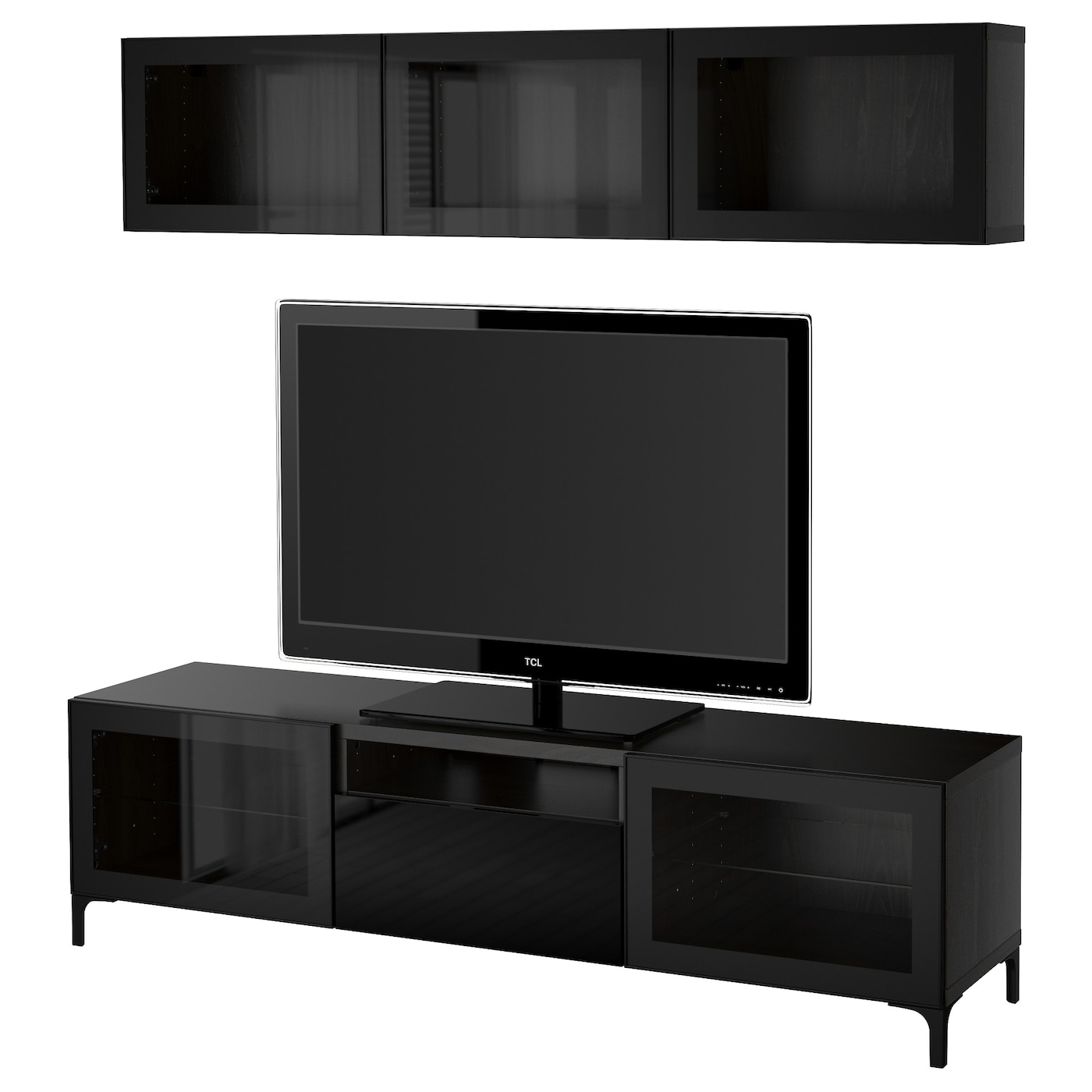 Best tv storage combination glass doors black brown for Le meuble furniture
