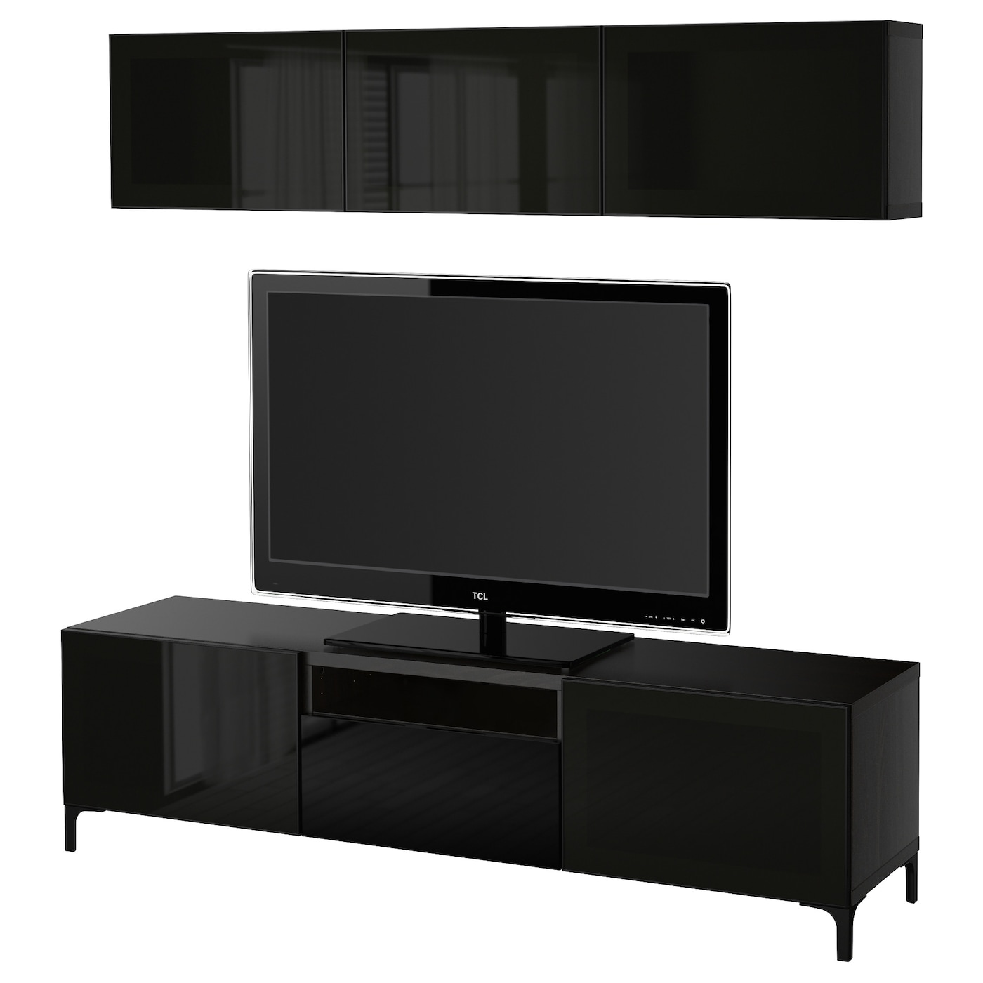 Best tv storage combination glass doors black brown for Table pour tele