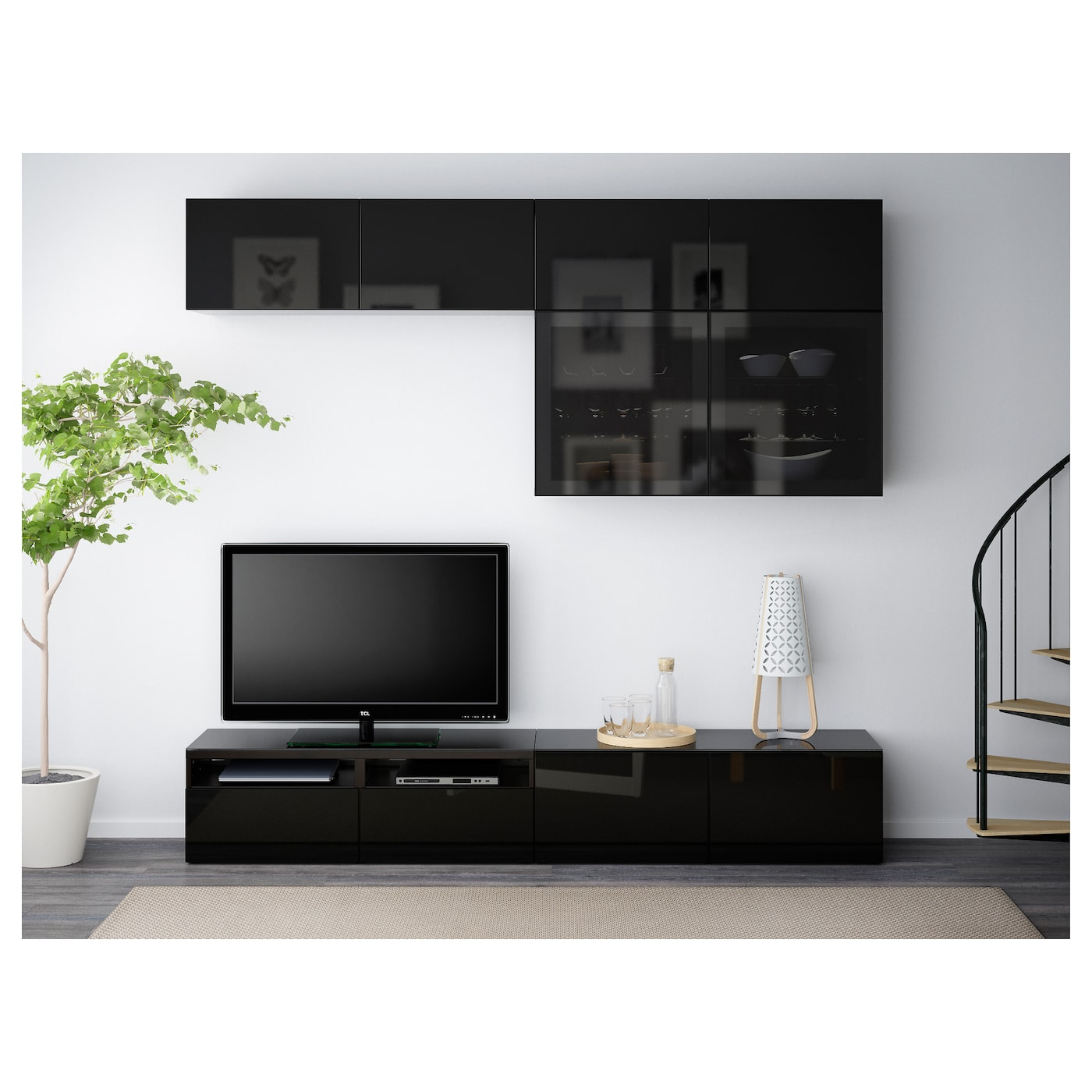 Best Tv Storage Combination Glass Doors Black Brown Selsviken  # Meuble Tv Ferme Ikea