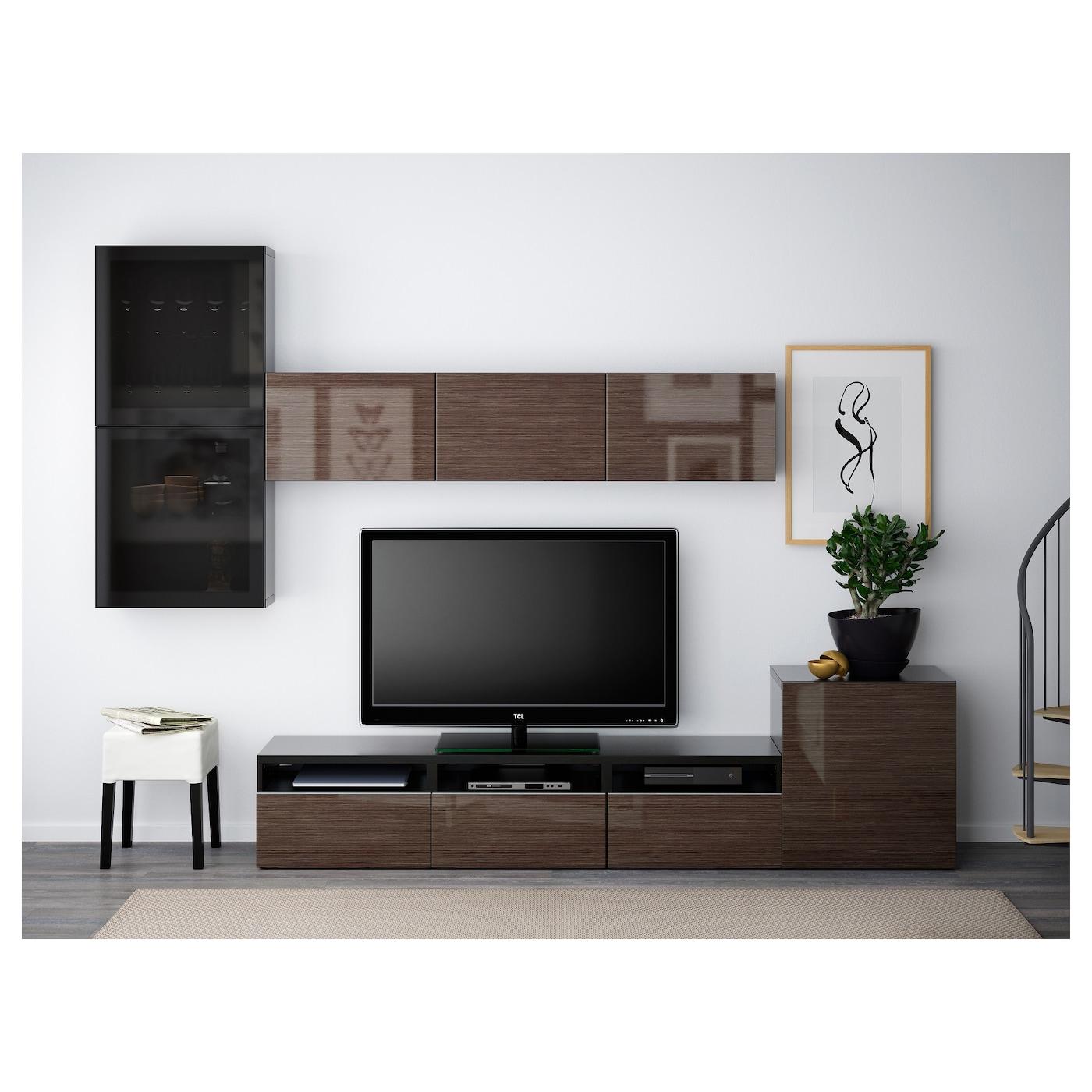 best tv storage combination glass doors black brown. Black Bedroom Furniture Sets. Home Design Ideas