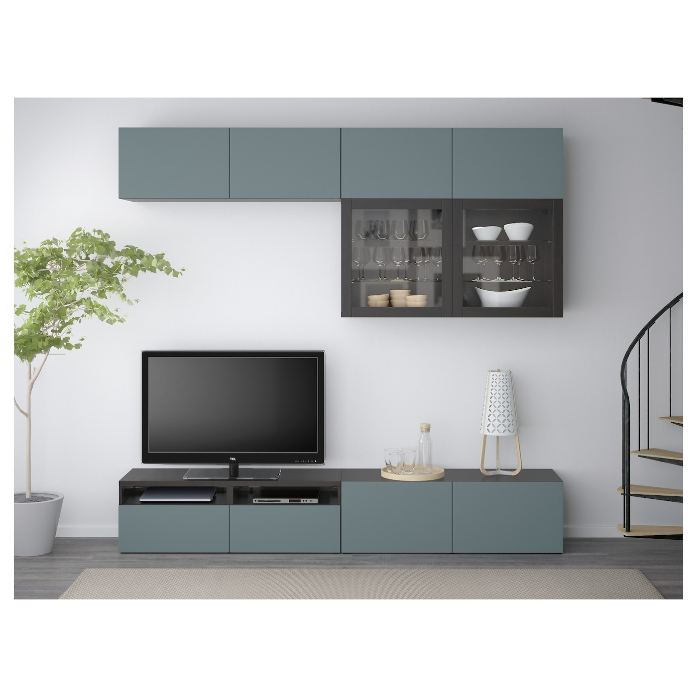 Best tv storage combination glass doors black brown for Couch 180 breit
