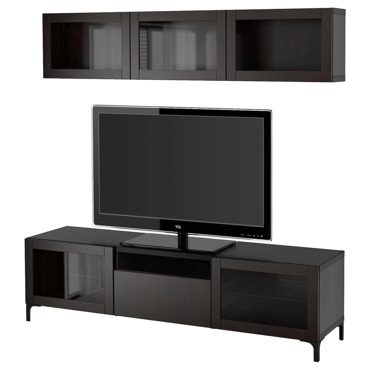 best tv storage combination glass doors lappviken sindvik black brown clear glass 180 x 20 40 x. Black Bedroom Furniture Sets. Home Design Ideas