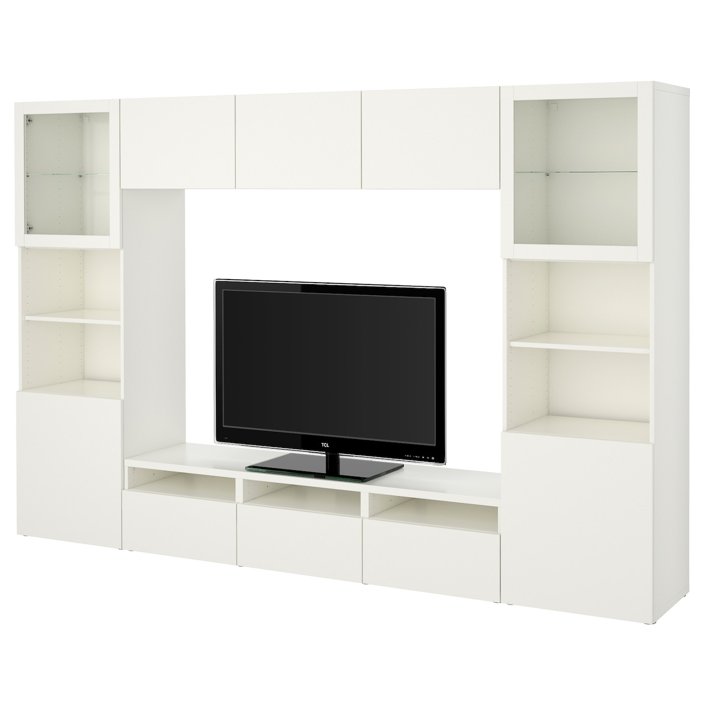 best tv storage combination glass doors lappviken sindvik white clear glass 300x40x192 cm ikea. Black Bedroom Furniture Sets. Home Design Ideas