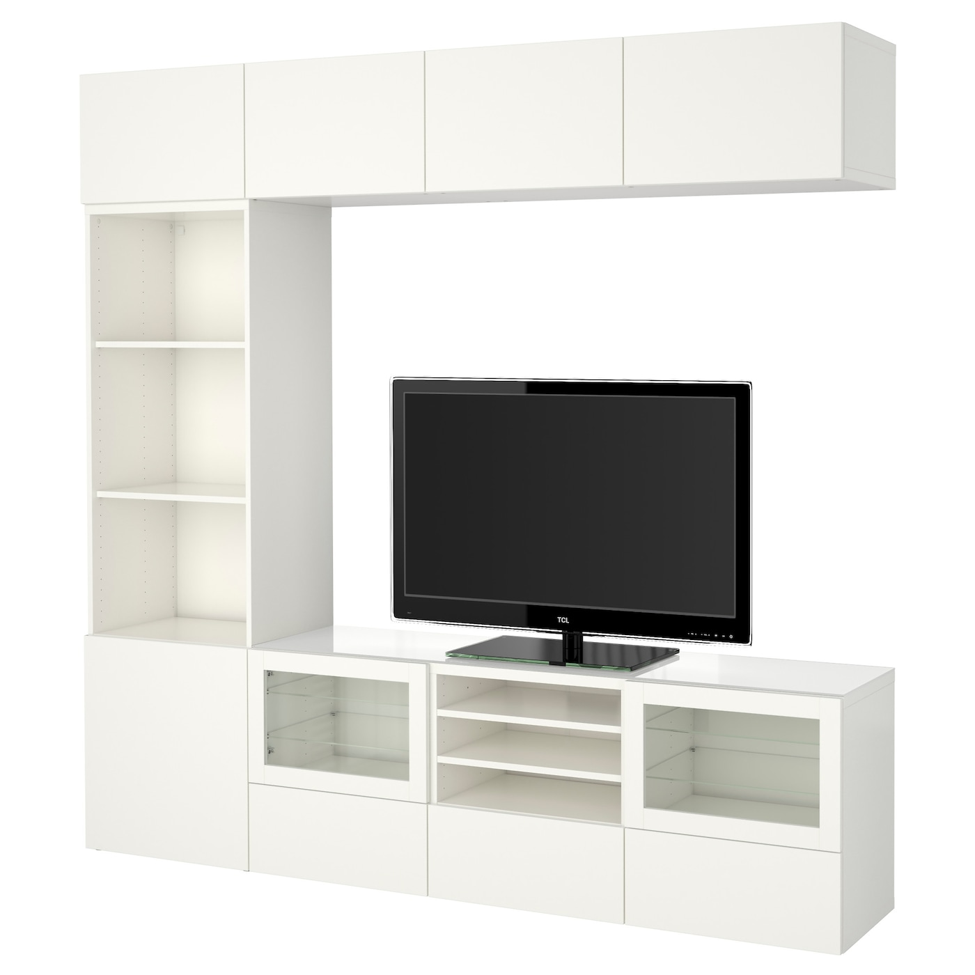 best tv storage combination glass doors lappviken sindvik white clear glass 240 x 40 x 230 cm. Black Bedroom Furniture Sets. Home Design Ideas