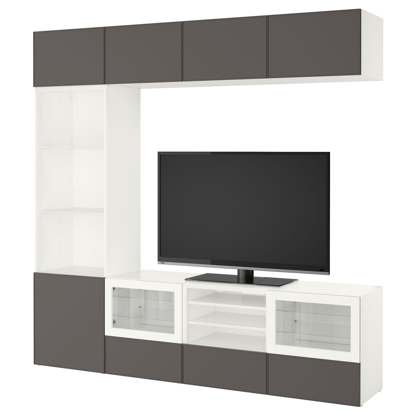 best tv storage combination glass doors white grundsviken dark grey clear glass 240x40x230 cm. Black Bedroom Furniture Sets. Home Design Ideas
