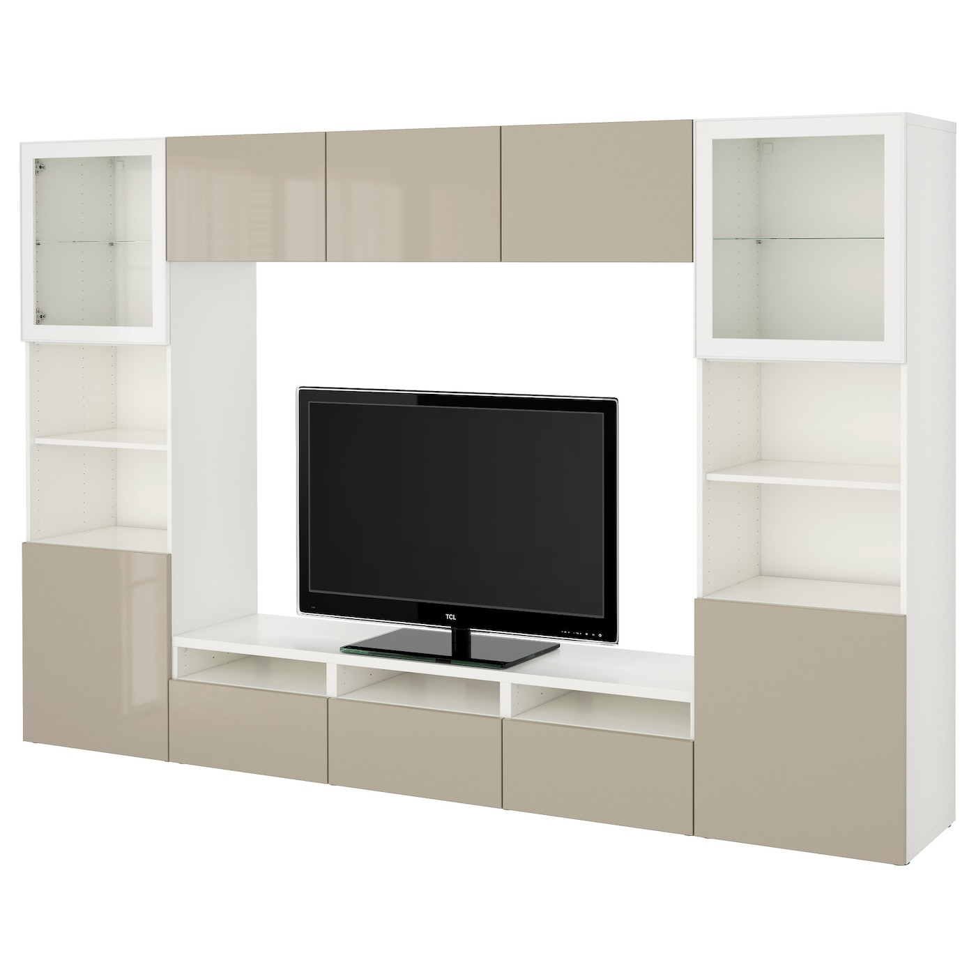 best tv storage combination glass doors white selsviken high gloss beige clear glass 300 x 40 x. Black Bedroom Furniture Sets. Home Design Ideas