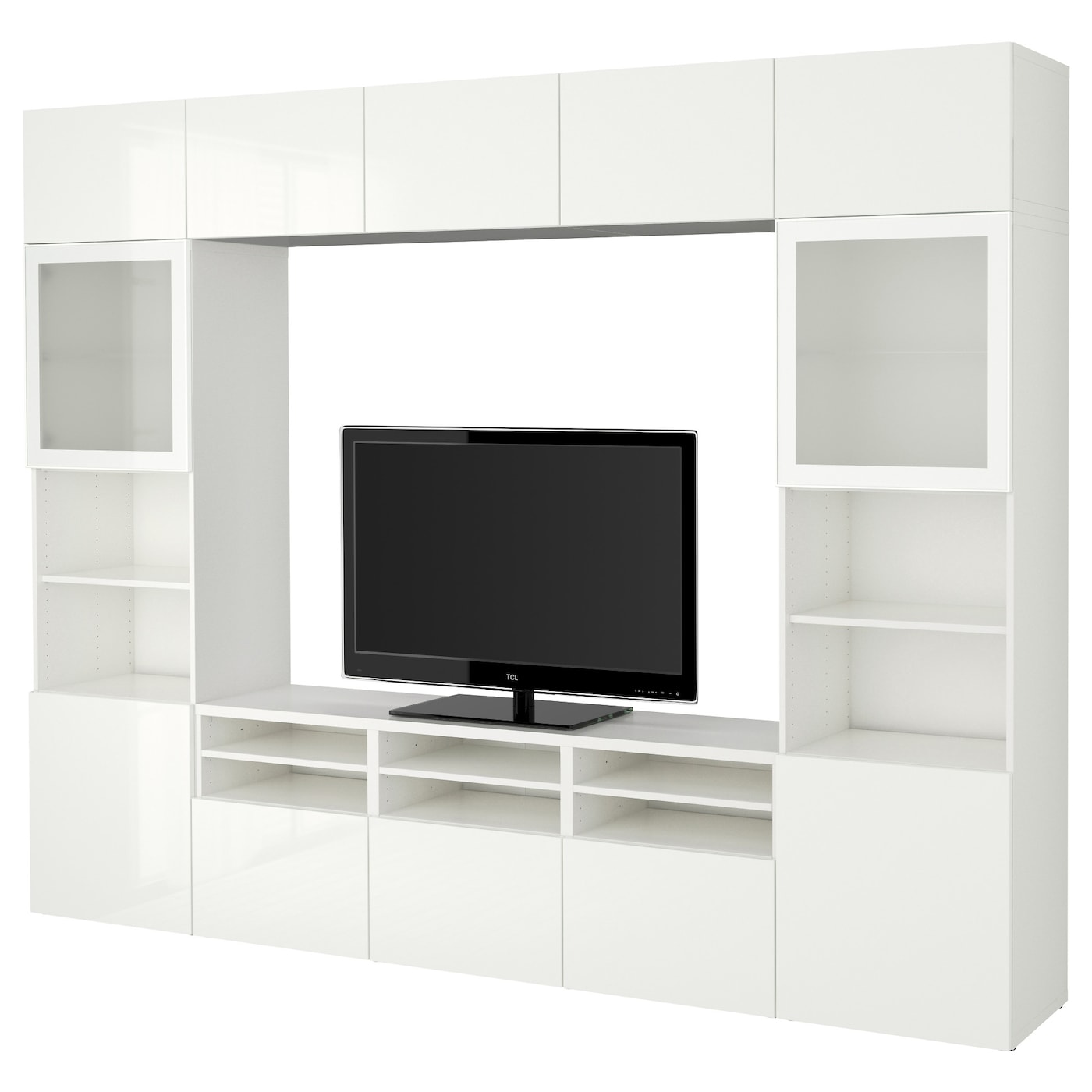 best tv storage combination glass doors white selsviken high gloss white frosted glass. Black Bedroom Furniture Sets. Home Design Ideas