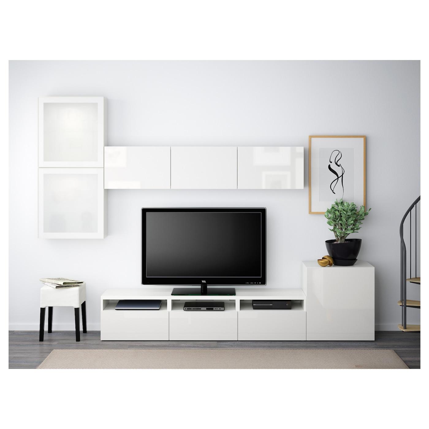 BESTA TV Storage Combination Glass Doors White Selsviken