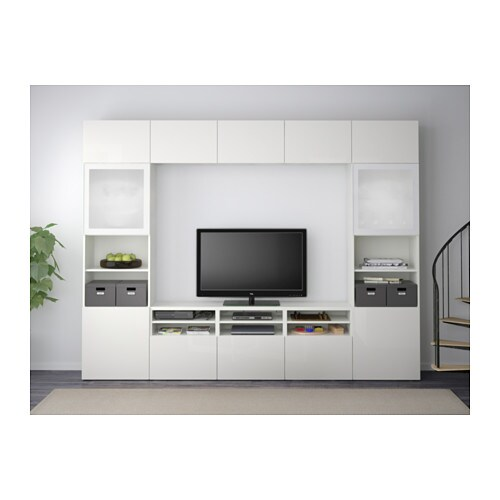 best tv storage combination glass doors white selsviken. Black Bedroom Furniture Sets. Home Design Ideas