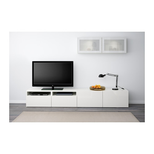 best tv storage combination glass doors white selsviken high gloss white frosted glass 240x20. Black Bedroom Furniture Sets. Home Design Ideas