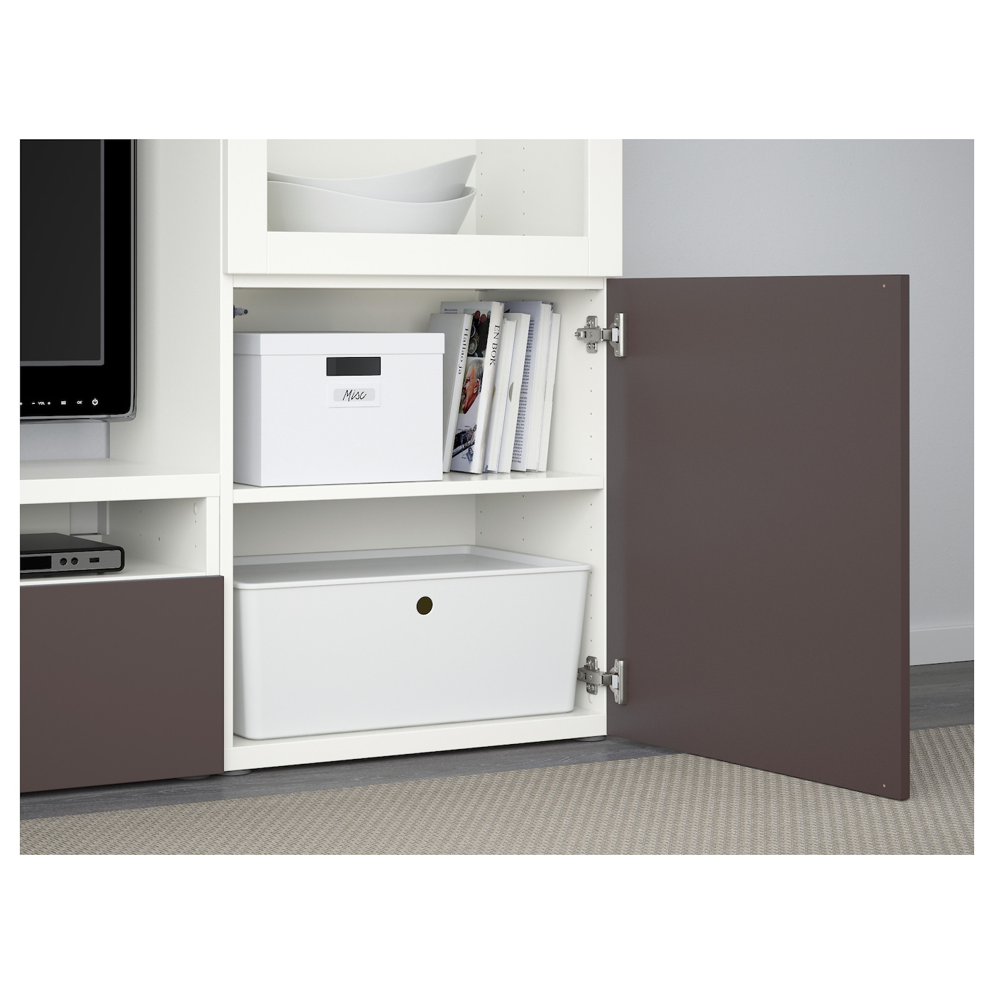 Best Tv Storage Combinationglass Doors Whitevalviken Dark Brown