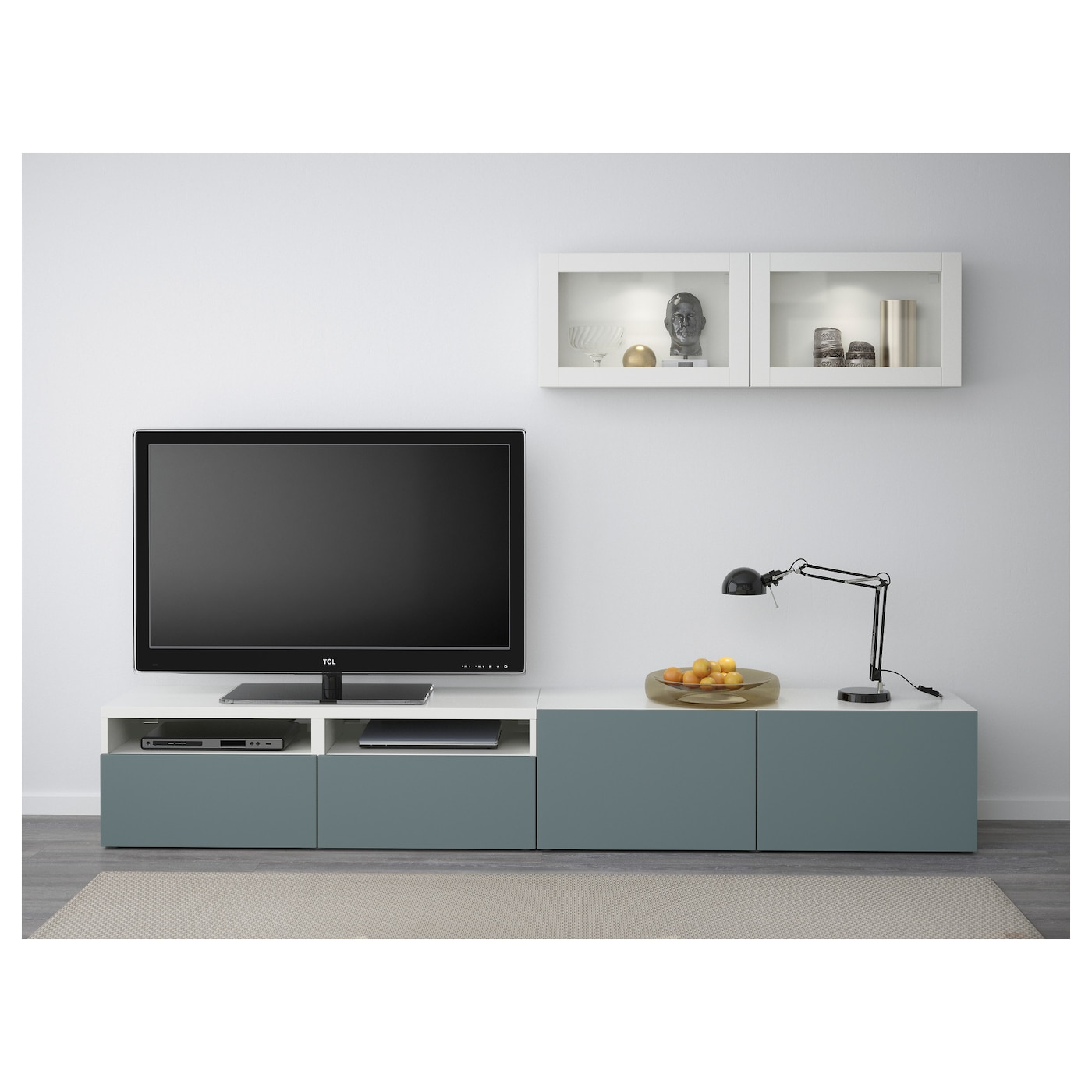 best tv storage combination glass doors white valviken grey turquoise clear glass 240 x 20 40 x. Black Bedroom Furniture Sets. Home Design Ideas