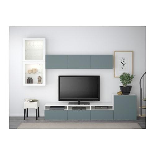 Meuble Tv Ikea Ps Gris : BestÅ Tv Storage Combinationglass Doors Whitevalviken Grey