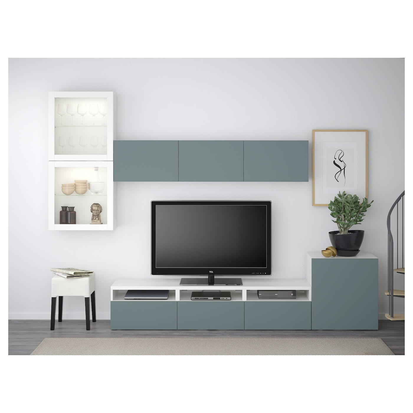Best tv storage combination glass doors white valviken grey turquoise clear - Meuble tv en verre ikea ...