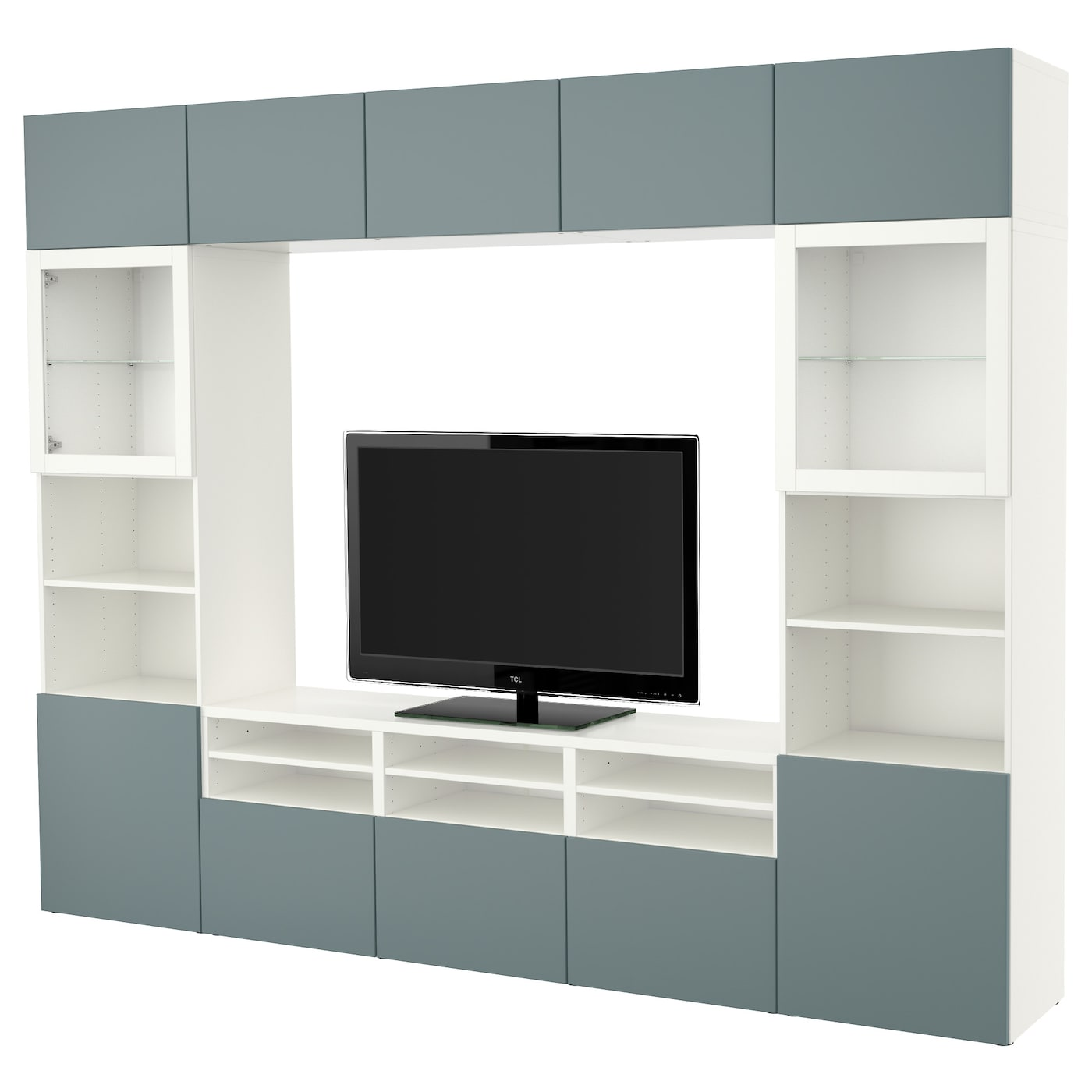Best Tv Storage Combination Glass Doors White Valviken Grey  # Besta Ikea Meuble Tv