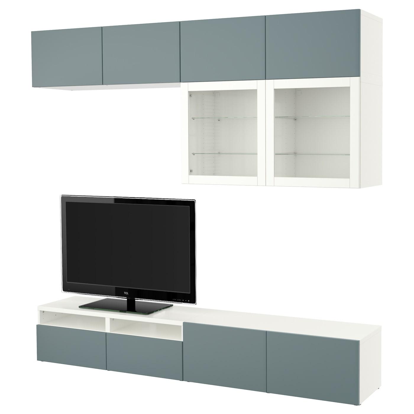 BESTÅ TV storage combination/glass doors White/valviken grey ...