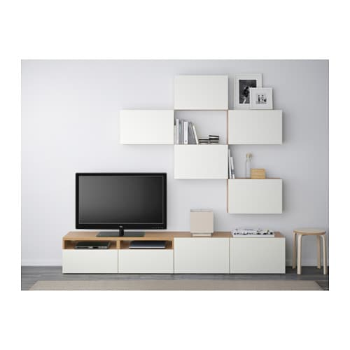 best tv storage combination oak effect lappviken white. Black Bedroom Furniture Sets. Home Design Ideas