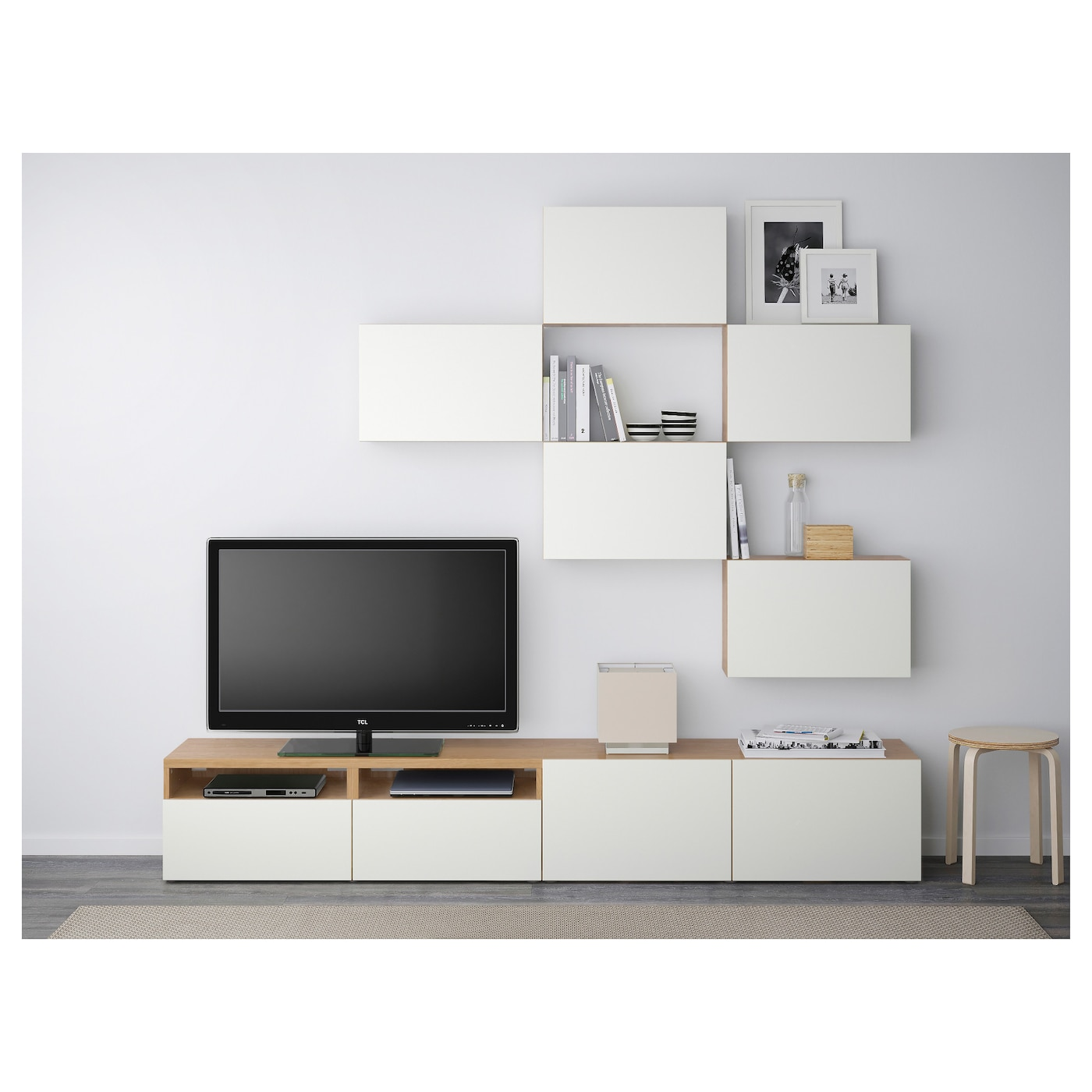 best tv storage combination oak effect lappviken white 240x20 40x204 cm ikea. Black Bedroom Furniture Sets. Home Design Ideas