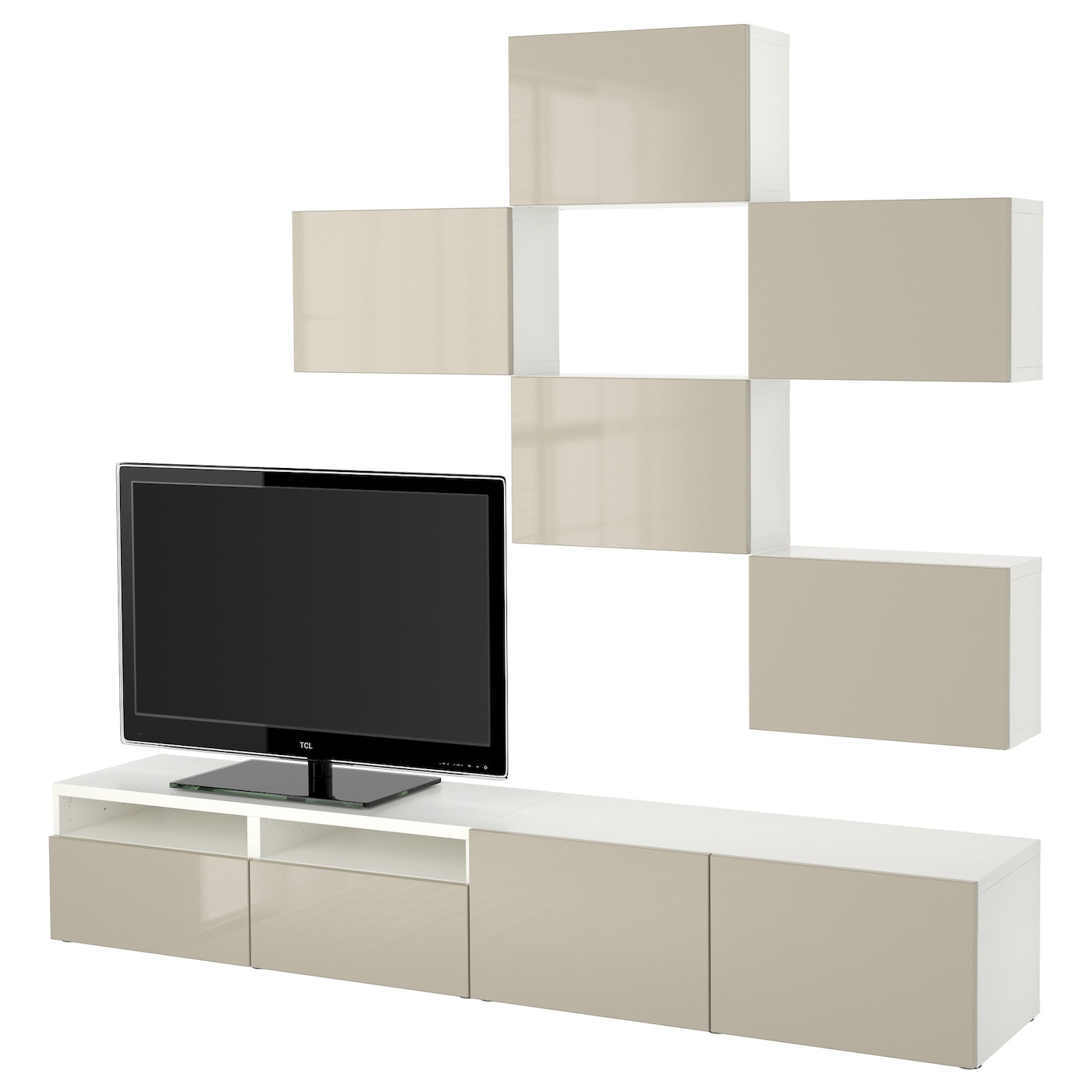 best tv storage combination white selsviken high gloss beige 240x20 40x204 cm ikea. Black Bedroom Furniture Sets. Home Design Ideas