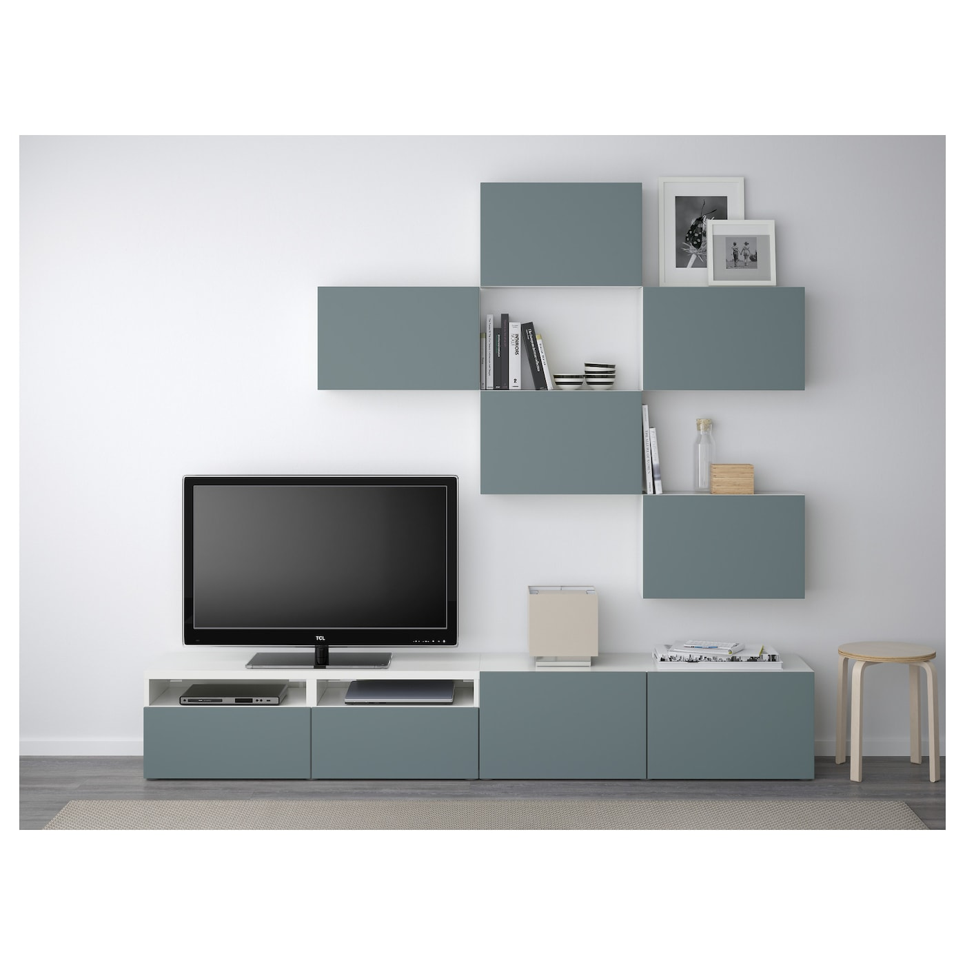 Best tv storage combination white valviken grey turquoise for Meuble 3 cases ikea