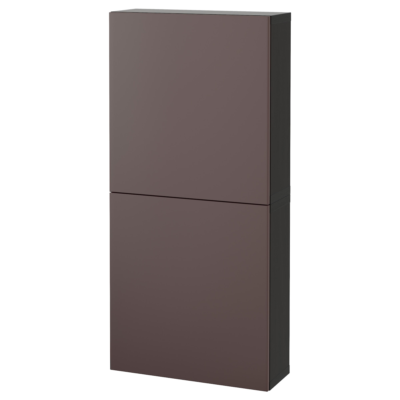 Best wall cabinet with 2 doors black brown valviken dark for Black cabinet with doors