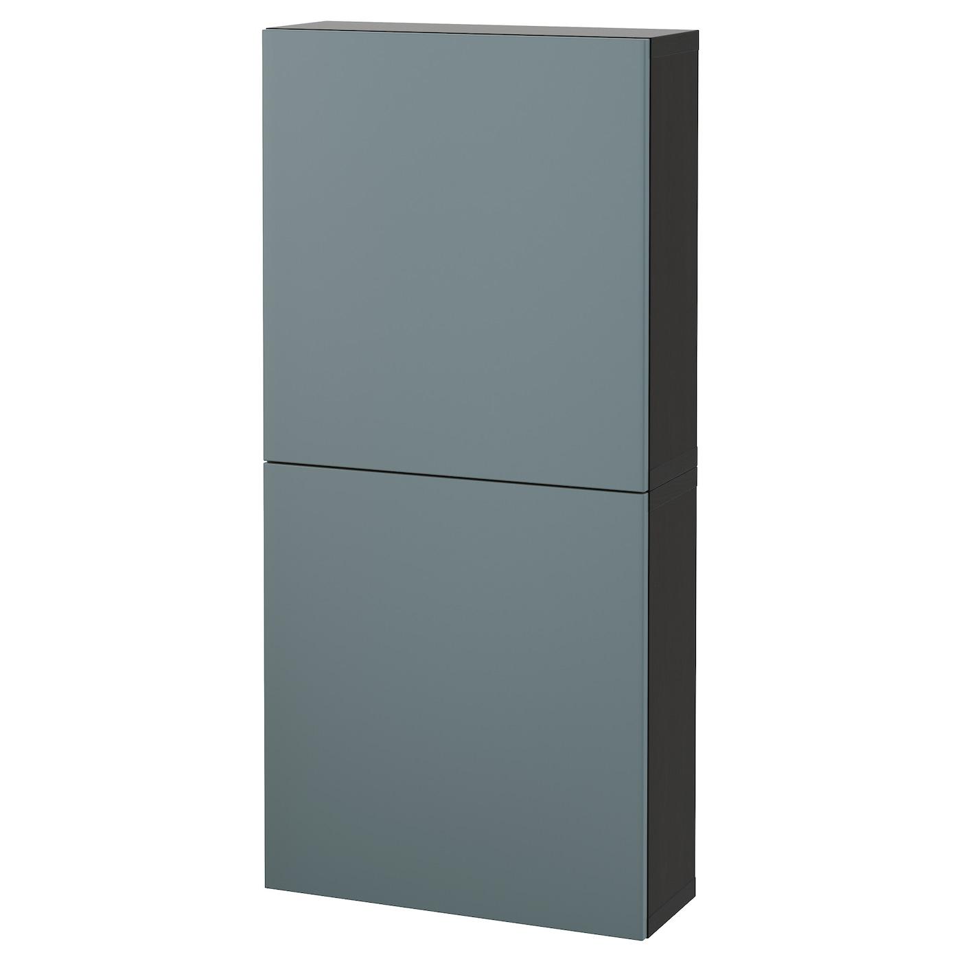 Best 197 Wall Cabinet With 2 Doors Black Brown Valviken Grey