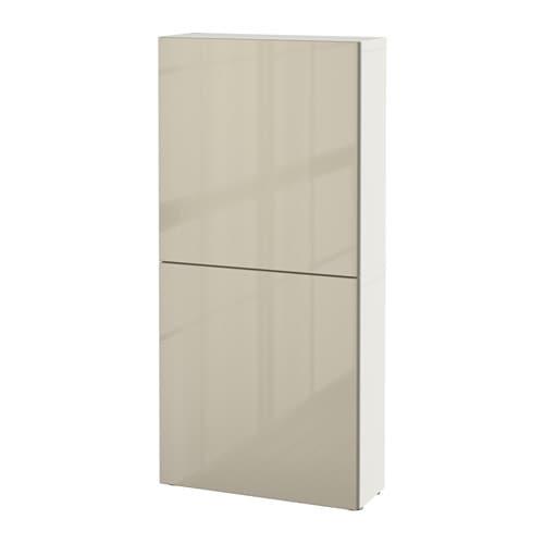 bestÅ wall cabinet with 2 doors white selsviken high gloss beige 60