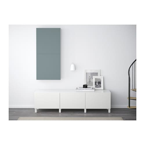 Best wall cabinet with 2 doors white valviken grey for Besta sideboard