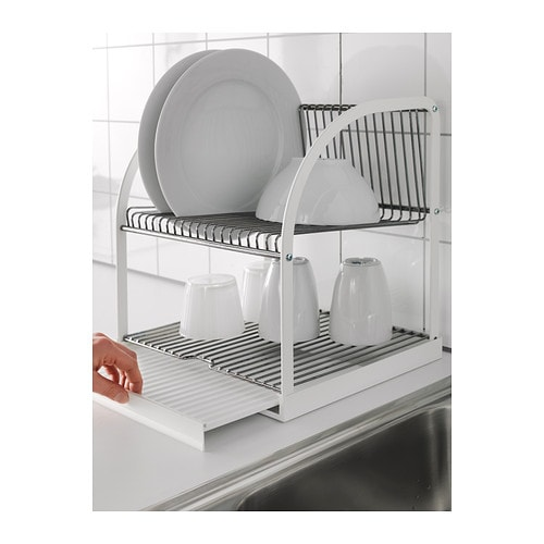 Best ende dish drainer silver colour white 32x29x36 cm ikea for Kitchen drying rack ikea
