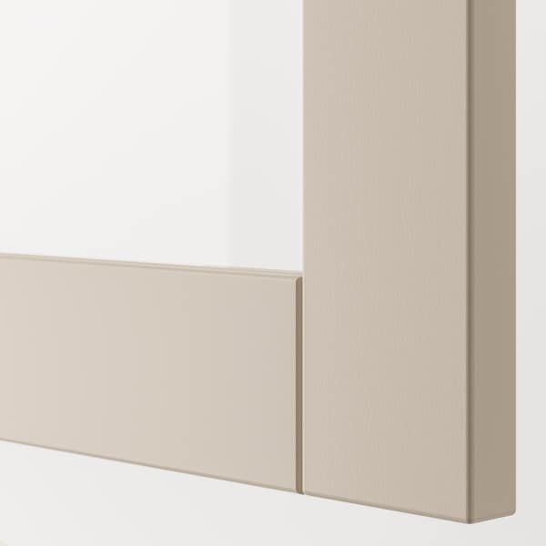BESTÅ Shelf unit with doors, white/Sindvik light grey/beige, 120x42x38 cm