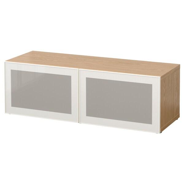 BESTÅ Shelf unit with glass doors, oak effect/Glassvik white/frosted glass, 120x42x38 cm