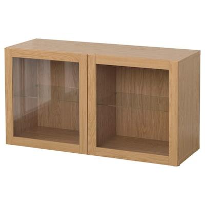 BESTÅ Shelf unit with glass doors, oak effect/Sindvik oak effect clear glass, 120x40x64 cm
