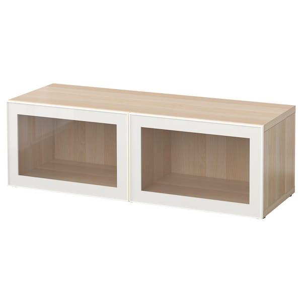 BESTÅ Shelf unit with glass doors, white stained oak effect/Glassvik white/clear glass, 120x42x38 cm