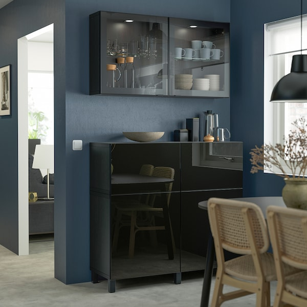 BESTÅ Storage combination w doors/drawers, black-brown/Selsviken/Stubbarp high-gloss/black clear glass, 120x42x213 cm