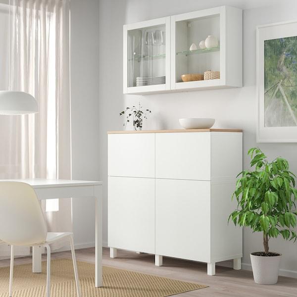 BESTÅ Storage combination w doors/drawers, white Lappviken/Sindvik/Stubbarp white clear glass, 120x42x240 cm