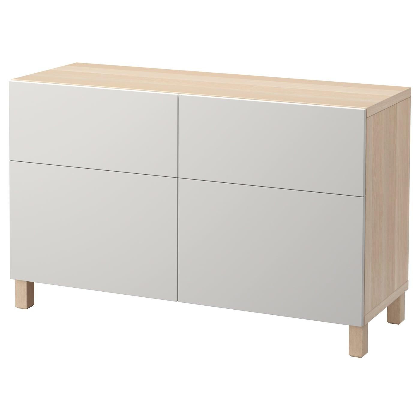 Storage Combination W Doors Drawers Besta White Stained Oak Effect Lappviken Light Grey